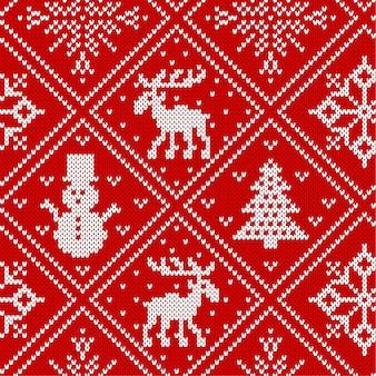 Il natale tricotta l'ornamento geometrico con le alci e gli alberi di natale. sfondo con texture a maglia. motivo a maglia per un maglione