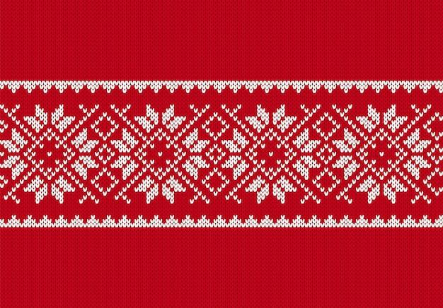 Natale a maglia senza cuciture. trama maglione lavorato a maglia rosso. sfondo di natale. stampa dell'isola fiera Vettore Premium
