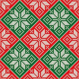 Modello di maglione lavorato a maglia natalizio con fiocchi di neve imitazione di trama a maglia di lana