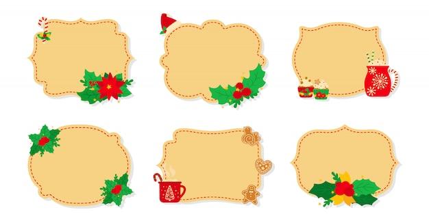 Natale etichetta e tag set piatto beige. etichette di capodanno decorate oggetti, agrifoglio vischio, biscotti biscotti caramelle, candele. raccolta delle etichette della toppa di natale della raccolta di festa del fumetto. illustrazione