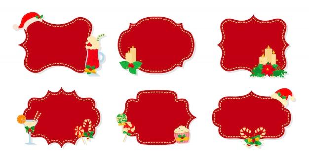 Natale etichetta e tag set piatto. etichette rosse della toppa di natale della raccolta di festa del fumetto. etichette di natale decorate oggetti, agrifoglio vischio, biscotti caramelle. collezione di capodanno. illustrazione