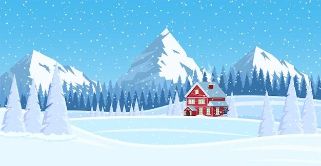 Sfondo del paesaggio di natale con neve e albero