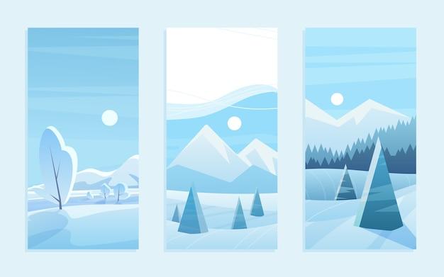 Insieme dell'illustrazione della cartolina d'auguri del paesaggio di natale
