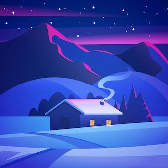Casa del paesaggio di natale nella foresta di inverno. paesaggio notturno con montagne e una capanna solitaria