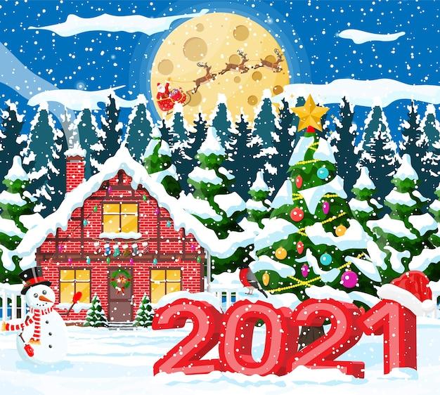Abete rosso e pupazzo di neve dell'albero di paesaggio di natale