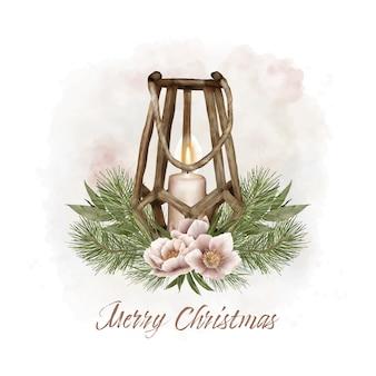 Lanterna di natale con pino e fiori