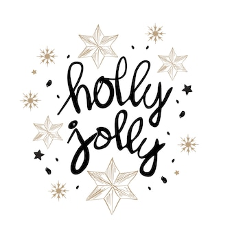 Biglietto da visita di natale di design con parole holly jolly
