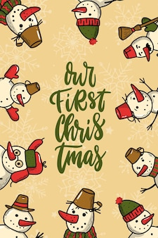 Citazione scritta natalizia decorata con pupazzi di neve