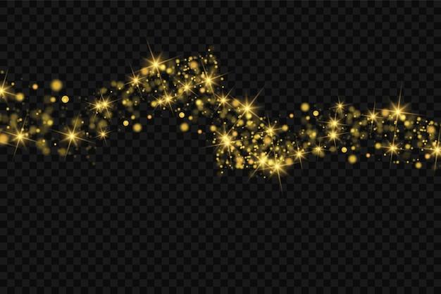 Effetto luce di natale. effetto glitter di particelle. scintille di vettore su uno sfondo trasparente particelle di polvere magica scintillanti. le scintille di polvere e le stelle dorate brillano di luce speciale.