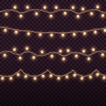 Luci di natale ghirlanda dorata brillante lampadine incandescenti per biglietti di natale