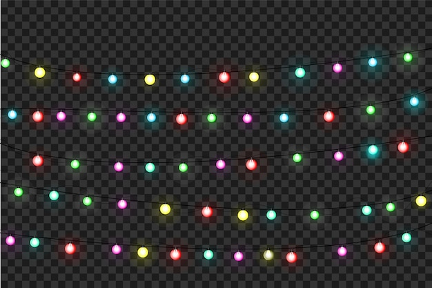 Luci di natale. ghirlanda di natale luminosa colorata. ghirlande di colori, lampadine bagliore rosse, gialle, blu e verdi. led illuminati al neon su sfondo trasparente.