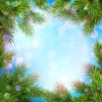Luci e decorazioni natalizie. Vettore Premium