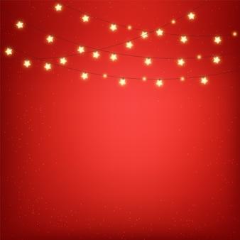 Luci di natale, elementi decorativi di design, bandiera rossa, sfondo di celebrazione, luci realistiche isolate