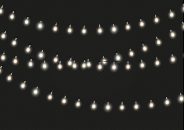 Luci di natale isolati elementi di design realistico. luci incandescenti per biglietti di auguri di natale, banner, poster, web design. decorazioni di ghirlande. lampada al neon a led