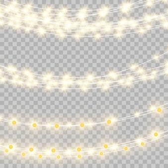 Le luci di natale hanno isolato gli elementi di disegno realistico. luci incandescenti per biglietti di auguri natalizi, striscioni, poster, web design. decorazioni di ghirlande. lampada al neon a led