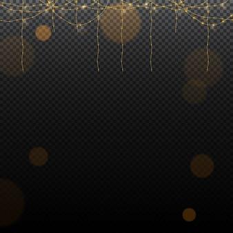 Luci di natale isolati elementi di design realistico. luci incandescenti per la progettazione di biglietti di auguri di natale. ghirlande, decorazioni natalizie. ghirlanda luminosa realistica isolata decorazione di natale