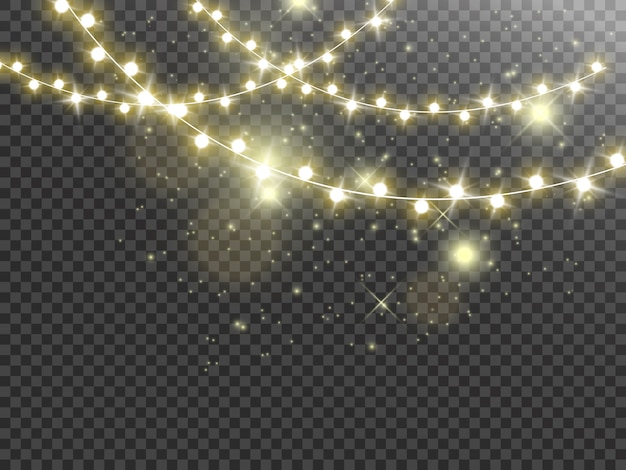 Luci di natale isolate su sfondo trasparente. ghirlanda luminosa.