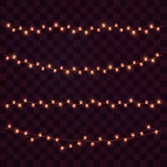 Luci di natale isolate su sfondo trasparente. ghirlanda luminosa di natale.