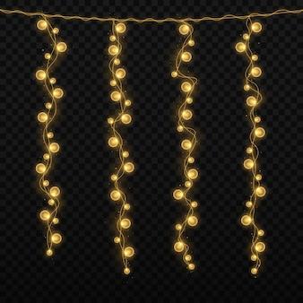Luci di natale isolate su sfondo trasparente ghirlanda di natale incandescente