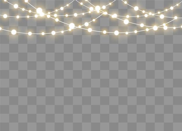 Luci di natale isolate su sfondo trasparente. ghirlanda luminosa di natale. illustrazione