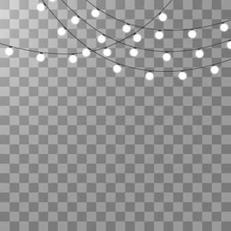Luci di natale isolate su sfondo trasparente.