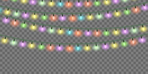 Luci natalizie, set di ghirlande natalizie colorate, decorazioni festive.