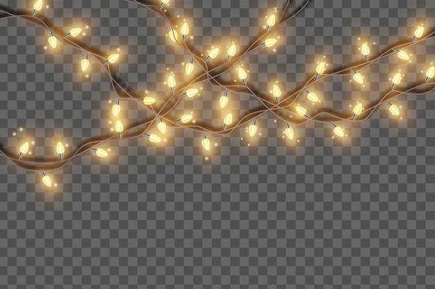 Luci di natale stringa ghirlanda vettore luminoso vacanza lampadina lampada festa di capodanno decorazione festiva