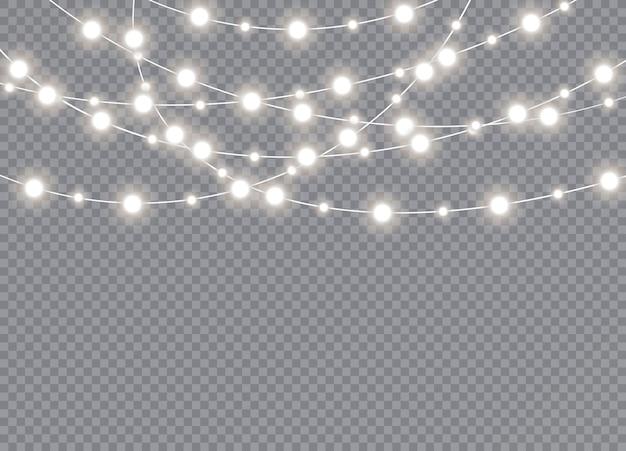 Luci di natale su sfondo trasparente