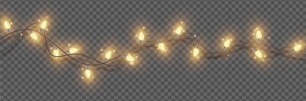 Le luci di natale vector l'illuminazione festiva di natale la ghirlanda d'ardore del nuovo anno elemento della decorazione