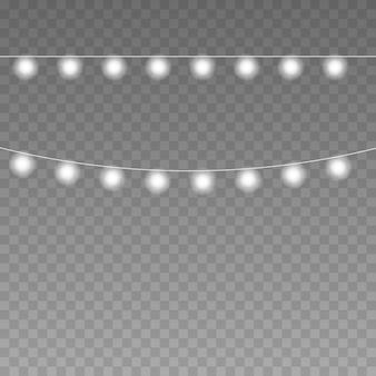Le luci di natale vector le stringhe isolate per la celebrazione delle vacanze xmas