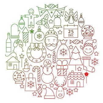 Disegno del cerchio dell'icona della linea di natale. illustrazione vettoriale di vacanze invernali e oggetti di felice anno nuovo.