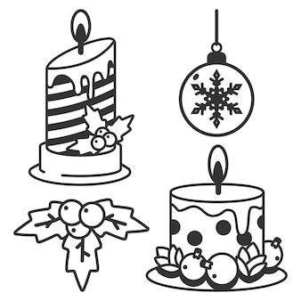 Natale linea icone vettore set isolato su uno sfondo bianco.