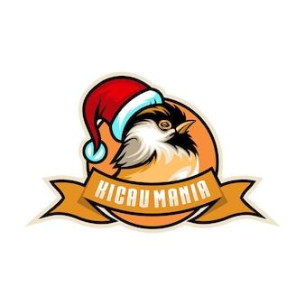 Disegno del logo dell'uccellino di natale