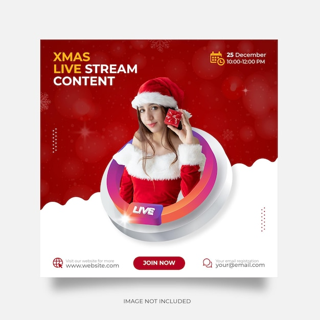 Natale live streaming instagram post modello di post sui social media