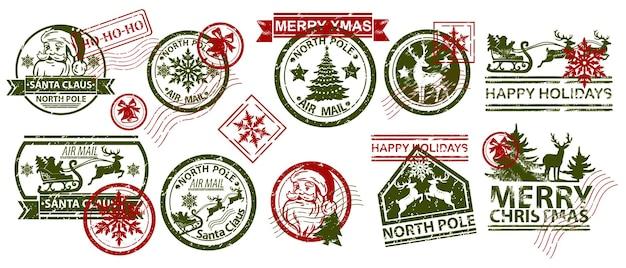 Insieme dell'illustrazione di vettore del timbro della posta di natale progettazione del timbro postale di inverno di festa dell'annata di babbo natale