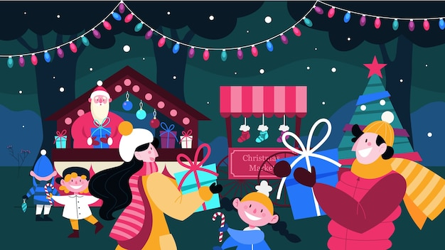 Illustrazione del mercatino di natale. persone che comprano regali, bambini che si godono le festività natalizie. albero di natale con decorazioni tradizionali. santa saluto le persone al classico evento di festa.