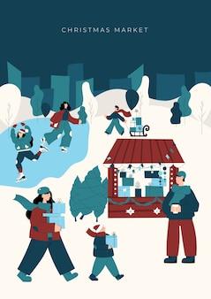Modello di poster del mercatino di natale con personaggi disegnati a mano di persone felici che camminano tra chioschi di legno e acquistano bevande, cibo e regali
