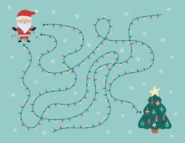 Gioco di labirinti natalizi per bambini in età prescolare, aiuta il babbo natale a trovare la strada giusta per l'albero di natale