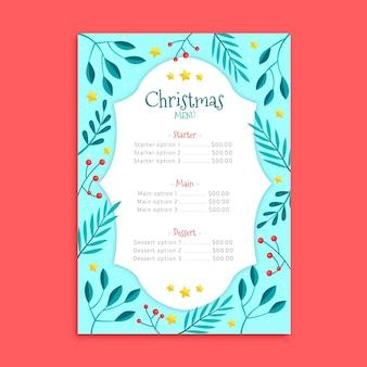 Modello di menu di natale in design piatto