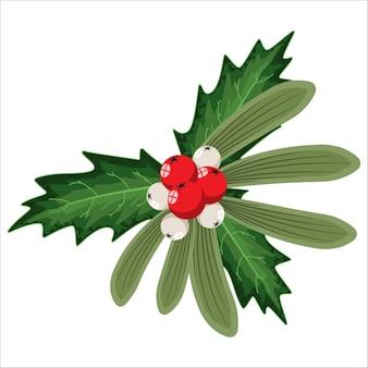Vischio di natale e foglie di bacche di agrifoglio. elemento di decorazione vacanza cartone animato isolato su uno sfondo bianco.