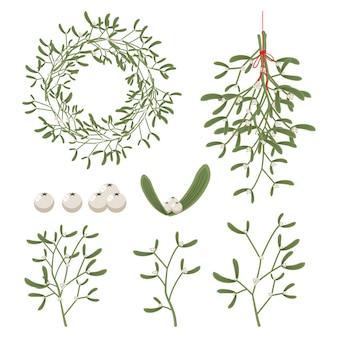 Vischio di natale con bacche, foglie, rametto, ghirlanda e rami