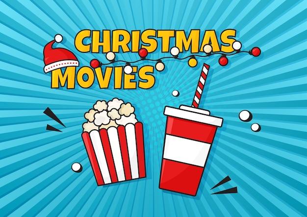 Fondo a strisce di vettore comico di film di natale. manifesto del cinema con popcorn e soda. serata di film per le vacanze. cappello di babbo natale. illustrazione invernale