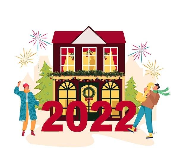 Poster di cartoni animati per feste jazz di musica natalizia le persone si stanno preparando per il nuovo anno 2022 città di natale