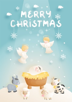 Un cartone animato presepe di natale, con gesù bambino, nella mangiatoia con angelo, asino e altri animali. illustrazione religiosa cristiana.