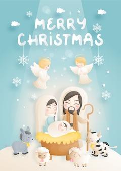Un cartone animato presepe di natale, con gesù bambino, maria e giuseppe nella mangiatoia con asino e altri animali. religioso cristiano