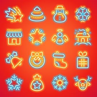 Icone al neon di natale Vettore Premium