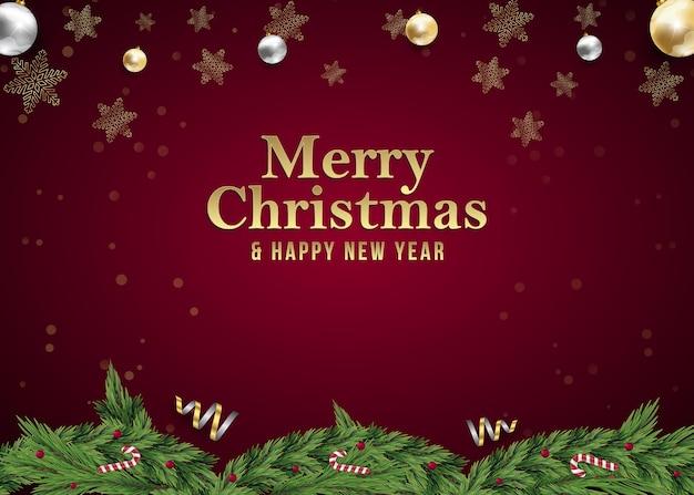 Natale e capodanno sfondo post social media post annuncio per evento invito su rosso