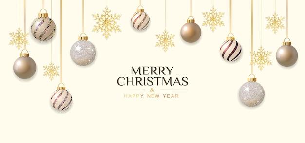 Sfondo di natale e capodanno con ornamenti festivi