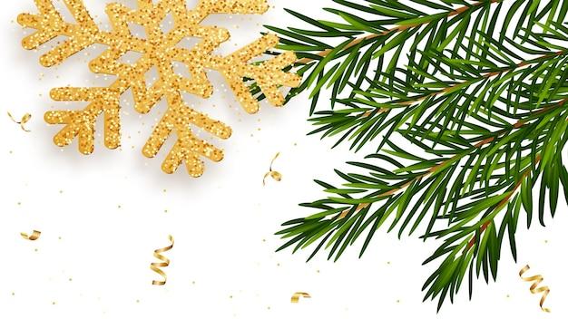Sfondo di natale e capodanno con brillanti fiocchi di neve d'oro rami di abete serpentino d'oro