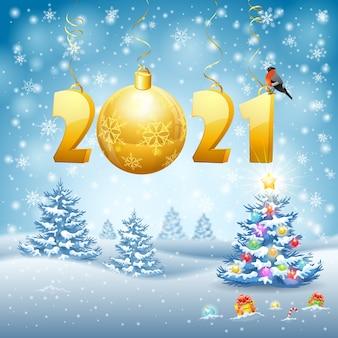 Sfondo di natale e capodanno con 2021 stilizzato, fiocco di neve, ciuffolotto e pallina.